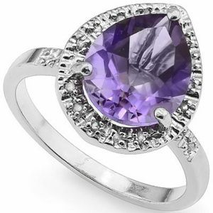 Jewelry - Genuine Amethyst and Diamond 925 Silver Ring